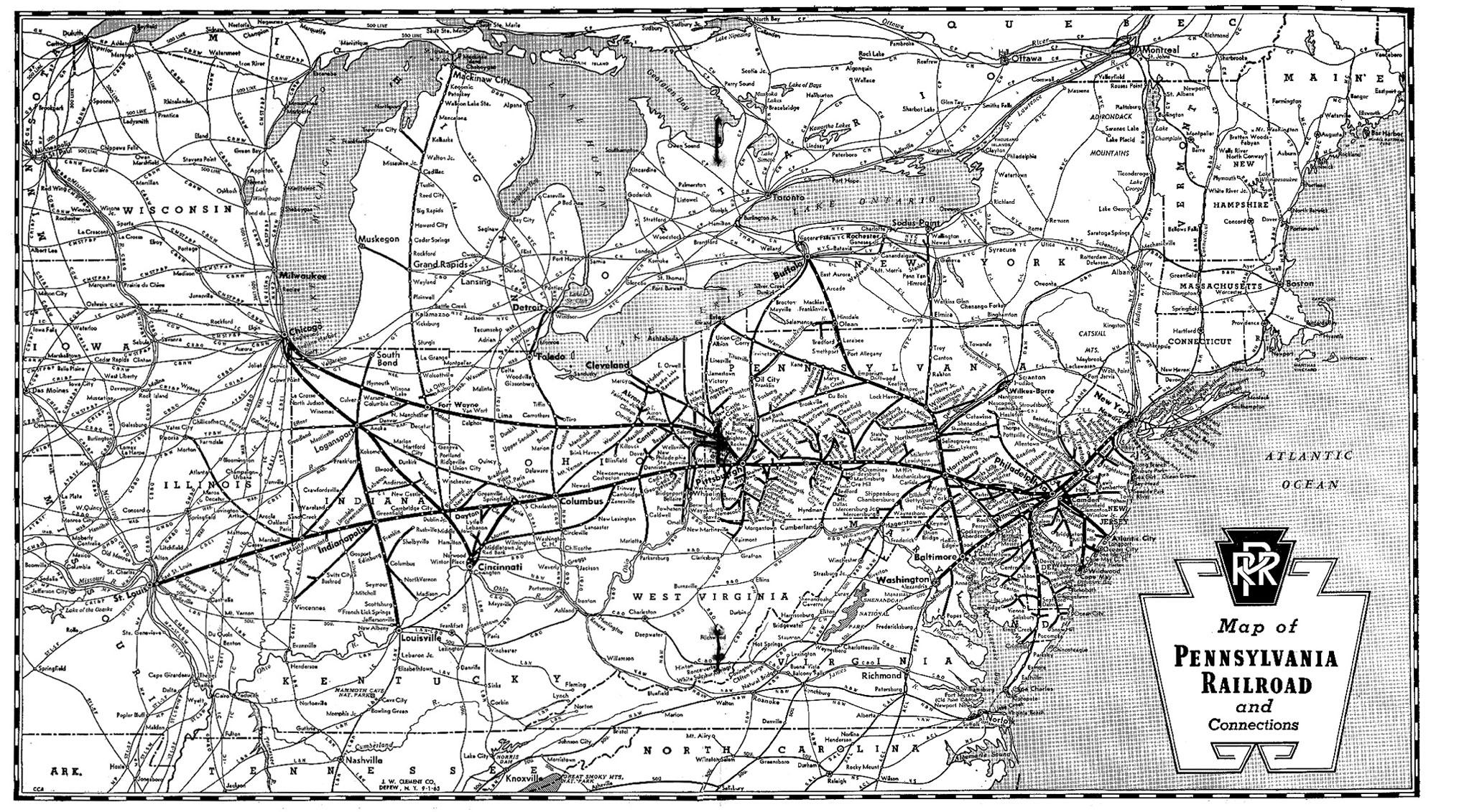Map Pennsylvania Railroad System 1965